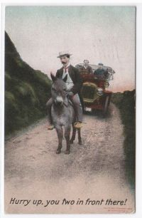 Old Post Card Donkey with Rider